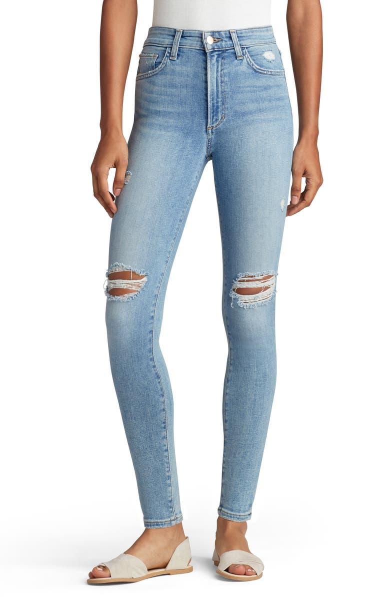 JOE'S The Charlie Distressed High Waist Ankle Skinny Jeans, Main, color, WALL FLOWER
