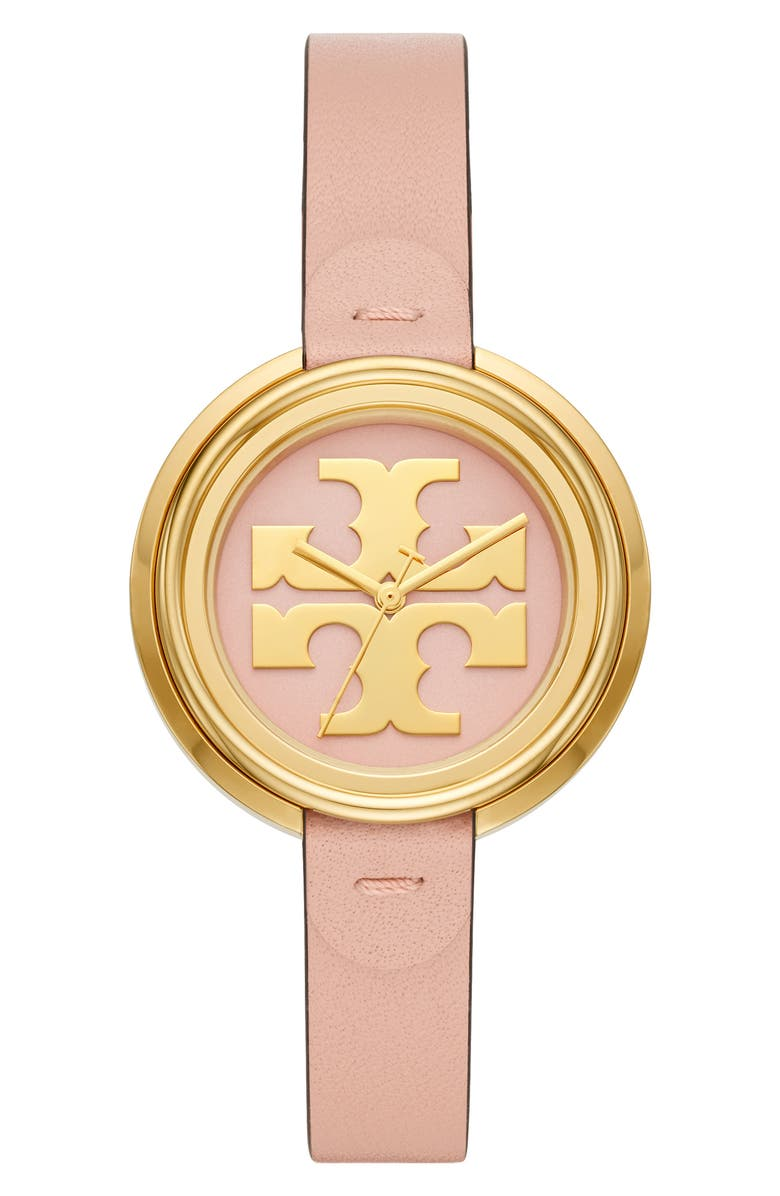 TORY BURCH The Miller Leather Strap Watch, 36mm, Main, color, 650