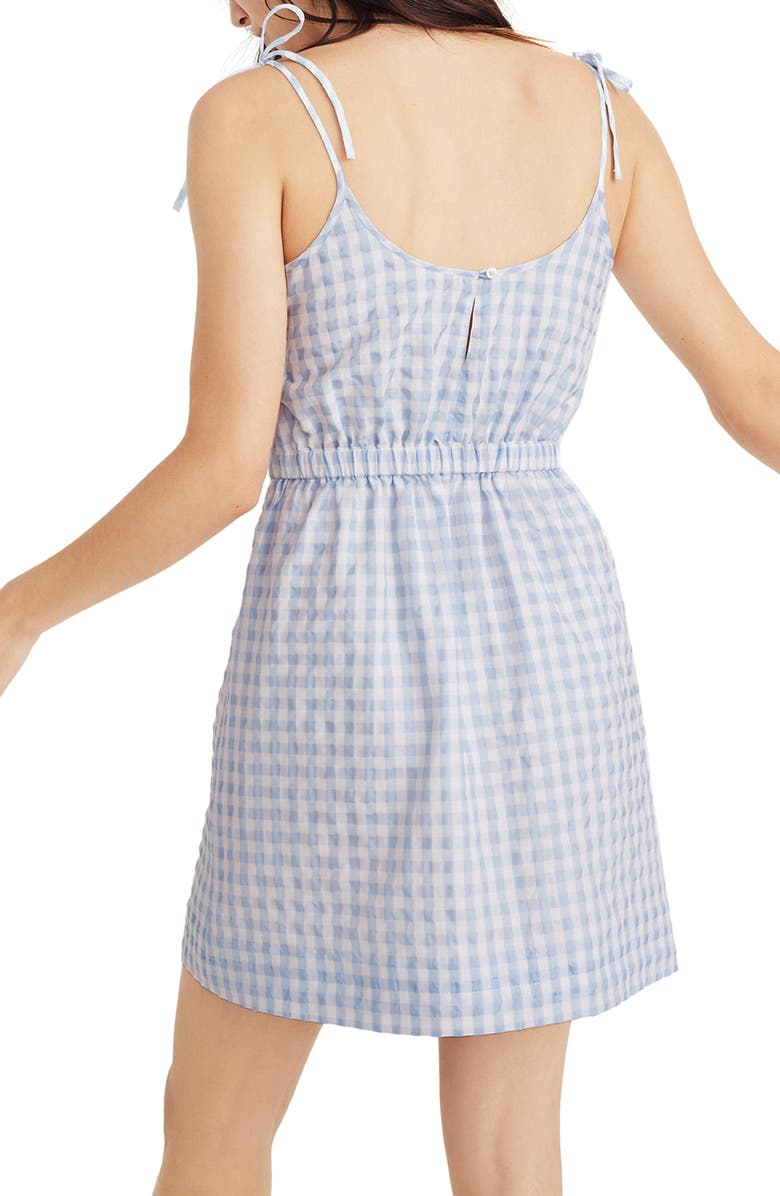 MADEWELL Tie Strap Gingham Dress, Main, color, 400