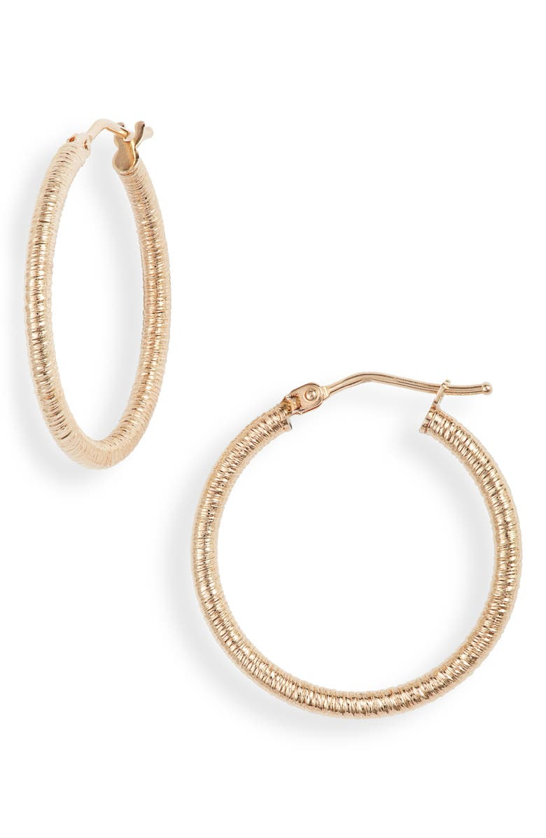 BONY LEVY Textured 14K Gold Hoops, Main, color, YELLOW GOLD