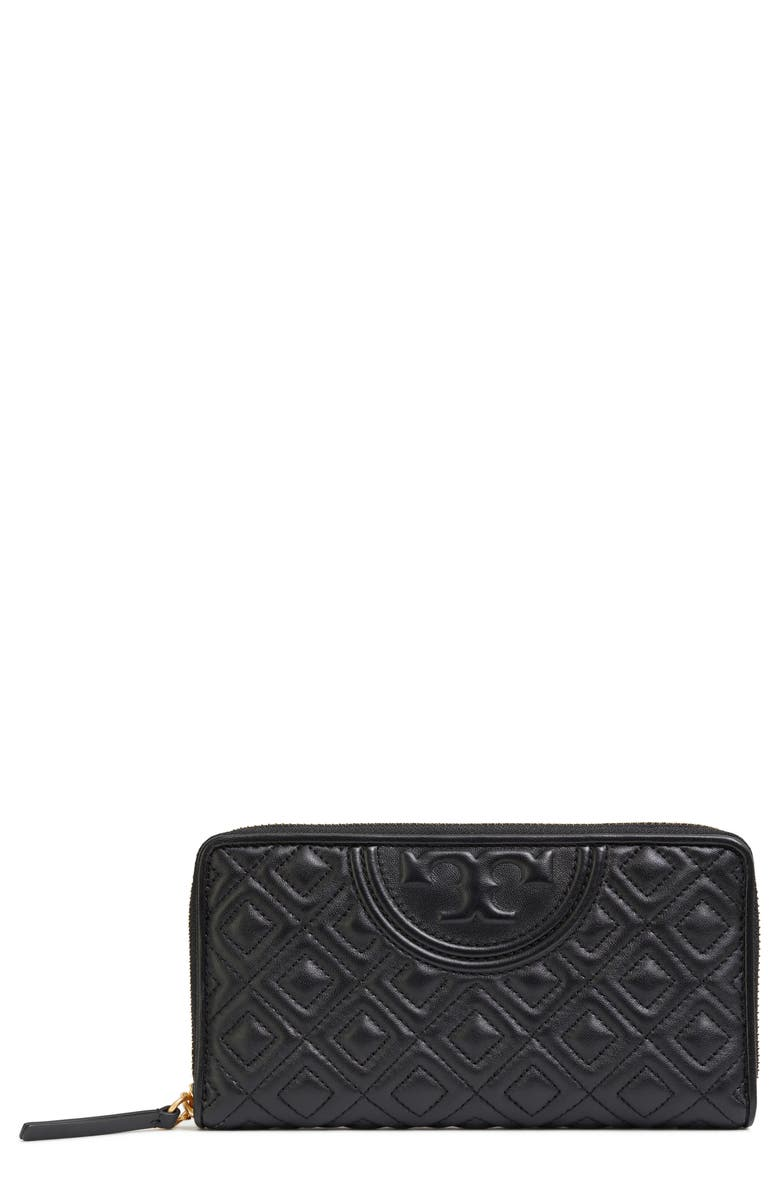 TORY BURCH Fleming Leather Wallet, Main, color, Black