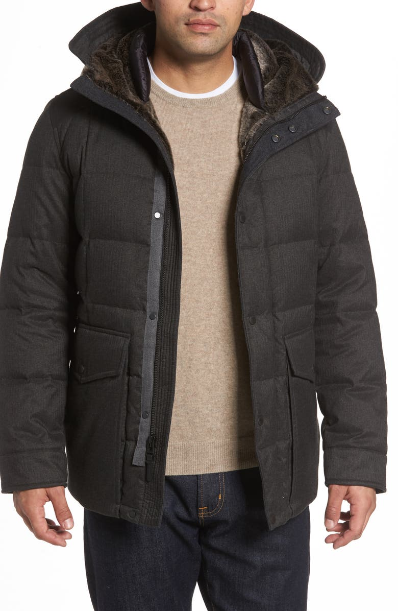 COLE HAAN Faux Fur Trim Mixed Media Hooded Down Jacket, Main, color, 029