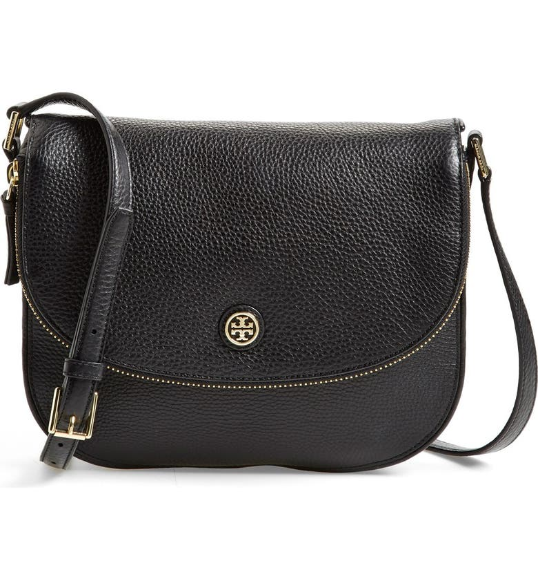 TORY BURCH 'Robinson' Pebbled Leather Shoulder Bag, Main, color, 001