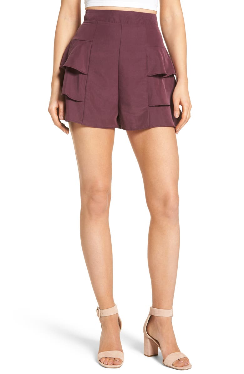 LEITH Tiered Ruffle Shorts, Main, color, PURPLE KISS