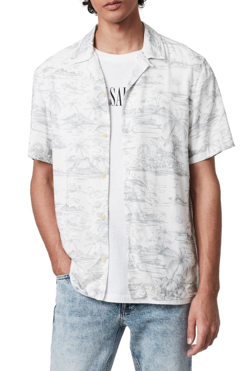 ALLSAINTS Kochang Hawaiian Print Short Sleeve Button-Up Camp Shirt, Main, color, WHITE/GREY