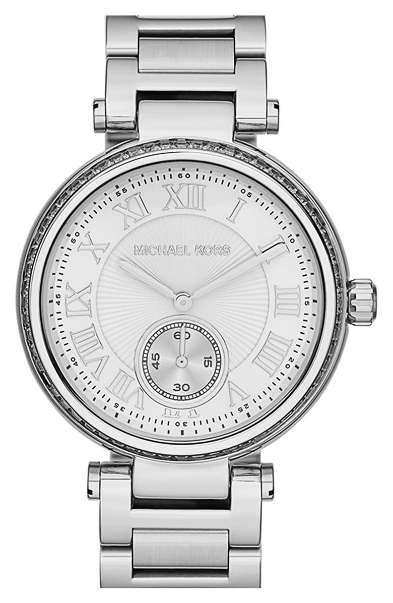 MICHAEL MICHAEL KORS Michael Kors 'Skylar' Crystal Bezel Bracelet Watch, 42mm, Main, color, 040