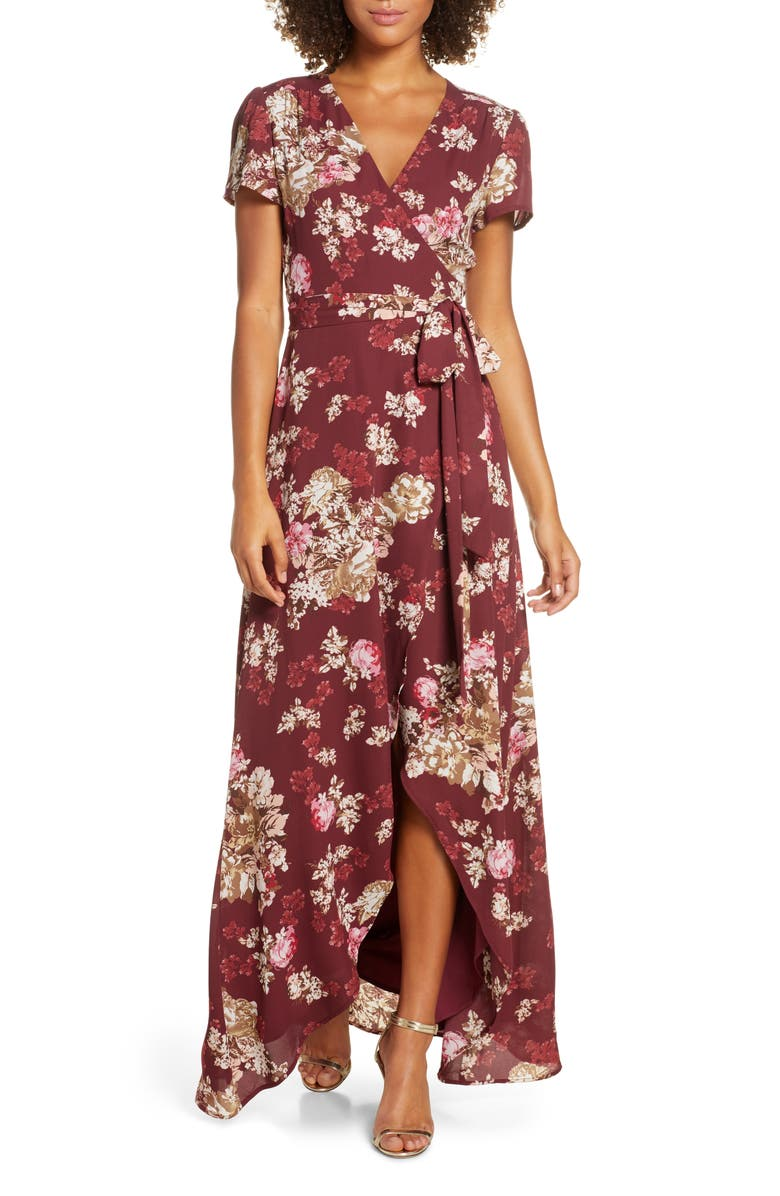 WAYF The Zoey Floral Print Short Sleeve Wrap Gown, Main, color, 930