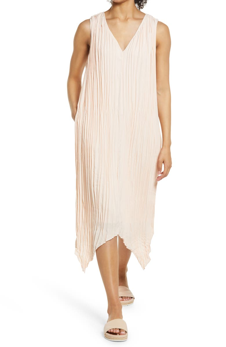 NORDSTROM Pleated Sleeveless Midi Dress, Main, color, BEIGE BISQUE