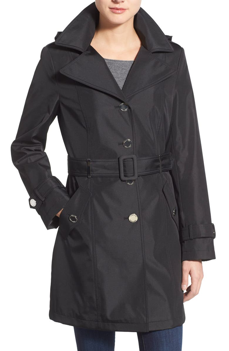 CALVIN KLEIN Single Breasted Belted Trench Coat, Main, color, 001