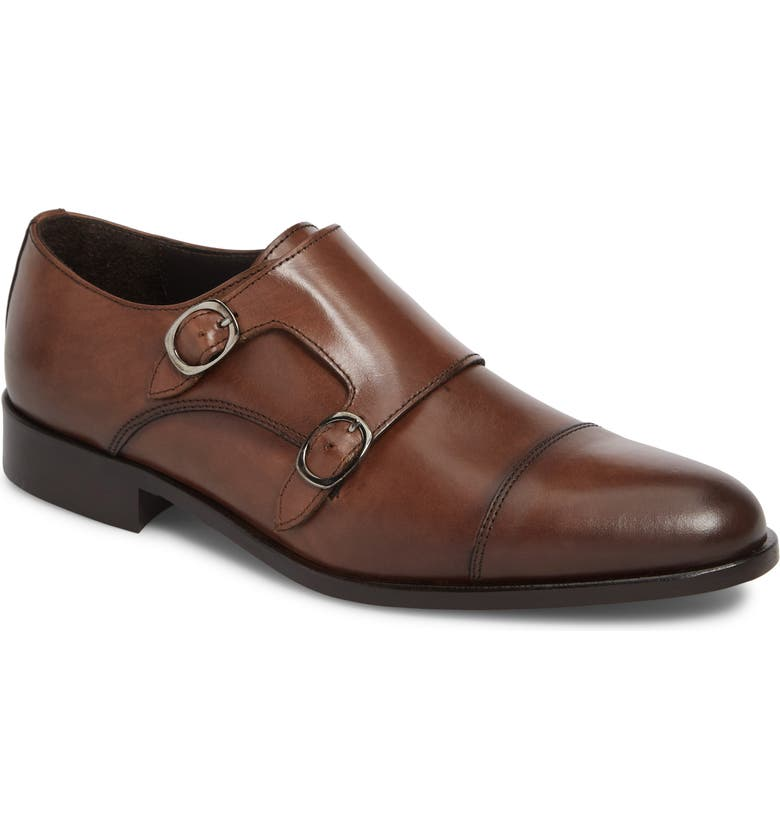 TO BOOT NEW YORK Ronald Double Monk Strap Shoe, Main, color, CORK BROWN LEATHER