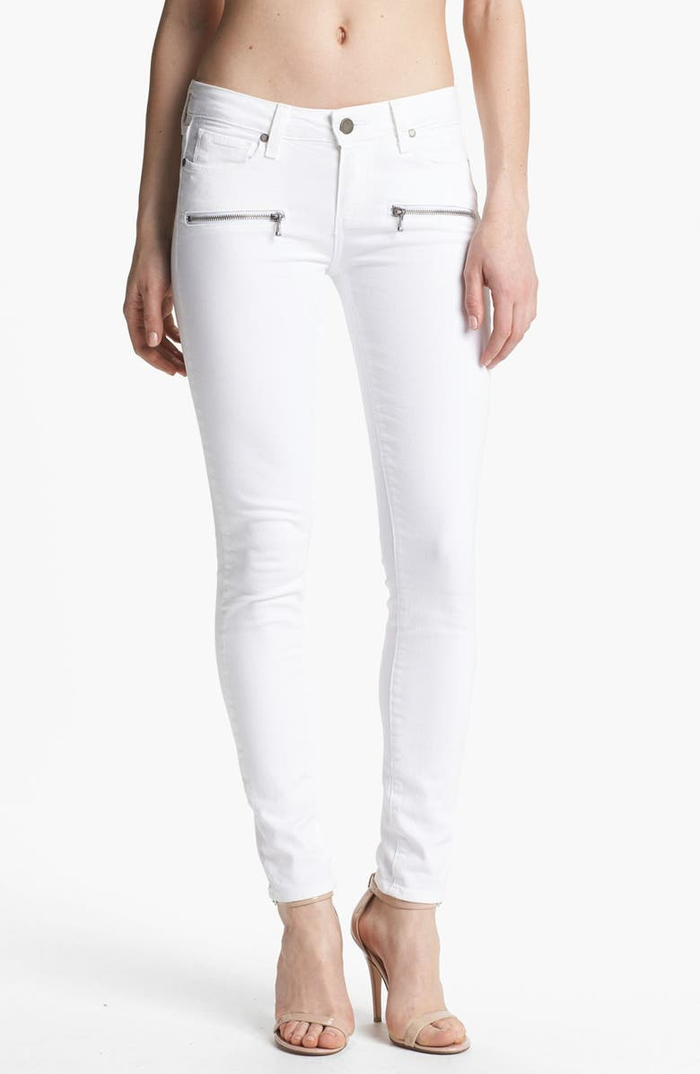 PAIGE Denim 'Indio Zip' Ultra Skinny Stretch Jeans, Main, color, OPTIC WHITE