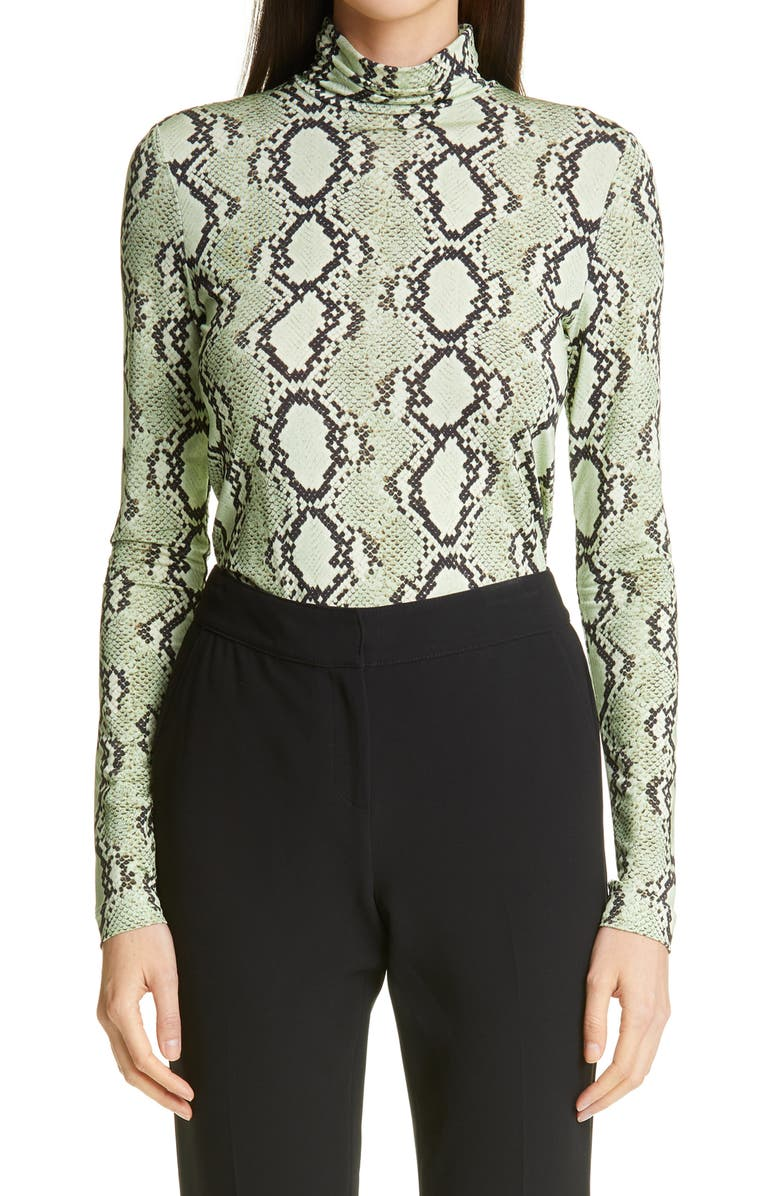 ST. JOHN COLLECTION Snakeskin Print Turtleneck, Main, color, MINT MULTI MIMU