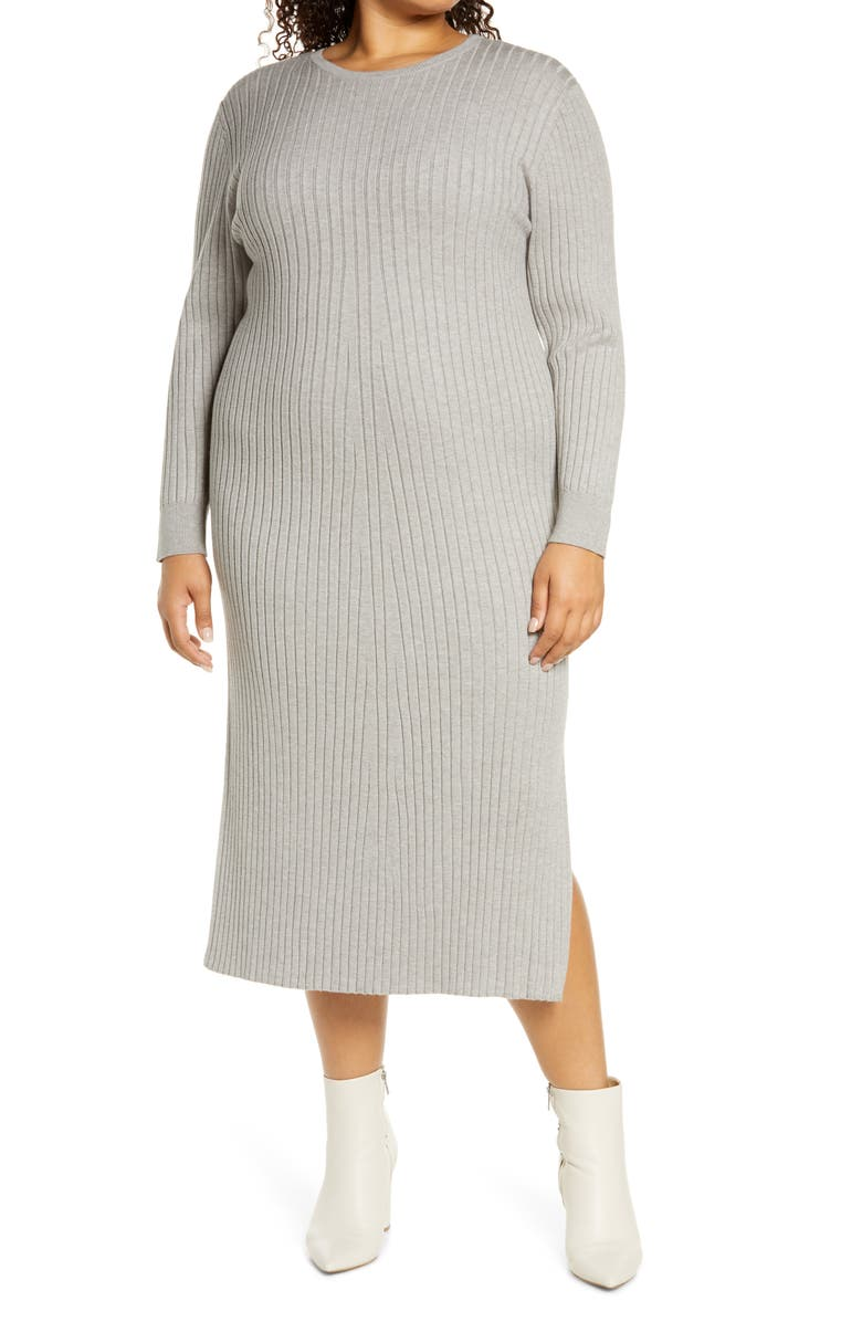 WAYF x BFF Hollie Tie Back Long Sleeve Sweater Dress, Main, color, HEATHER GREY
