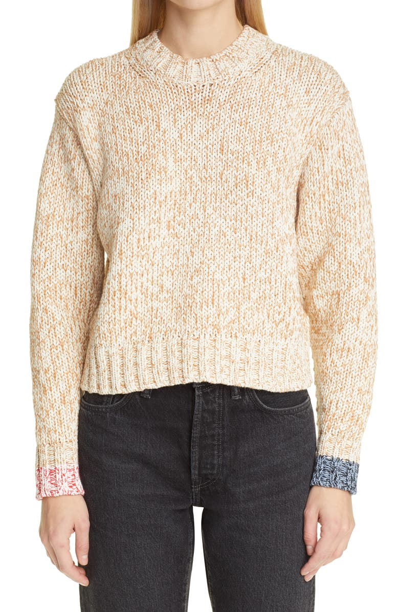 ACNE STUDIOS Kasha Chunky Mouline Cotton Sweater, Main, color, CREAM/ CAMEL