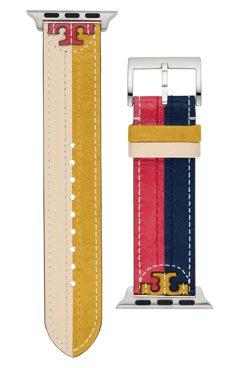 TORY BURCH Colorblock Leather Strap for Apple Watch<sup>®</sup>, 38mm/40mm, Main, color, 600