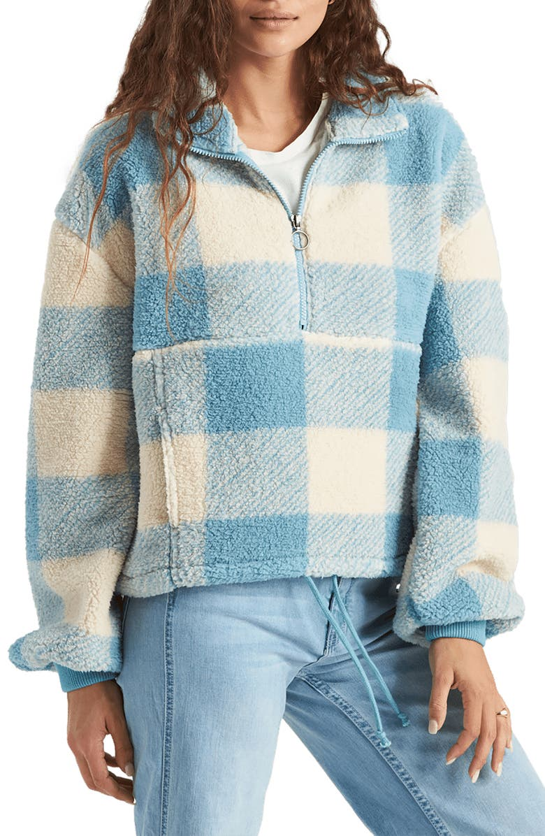 BILLABONG Time Off Faux Shearling Half Zip Pullover, Main, color, SURF BLUE