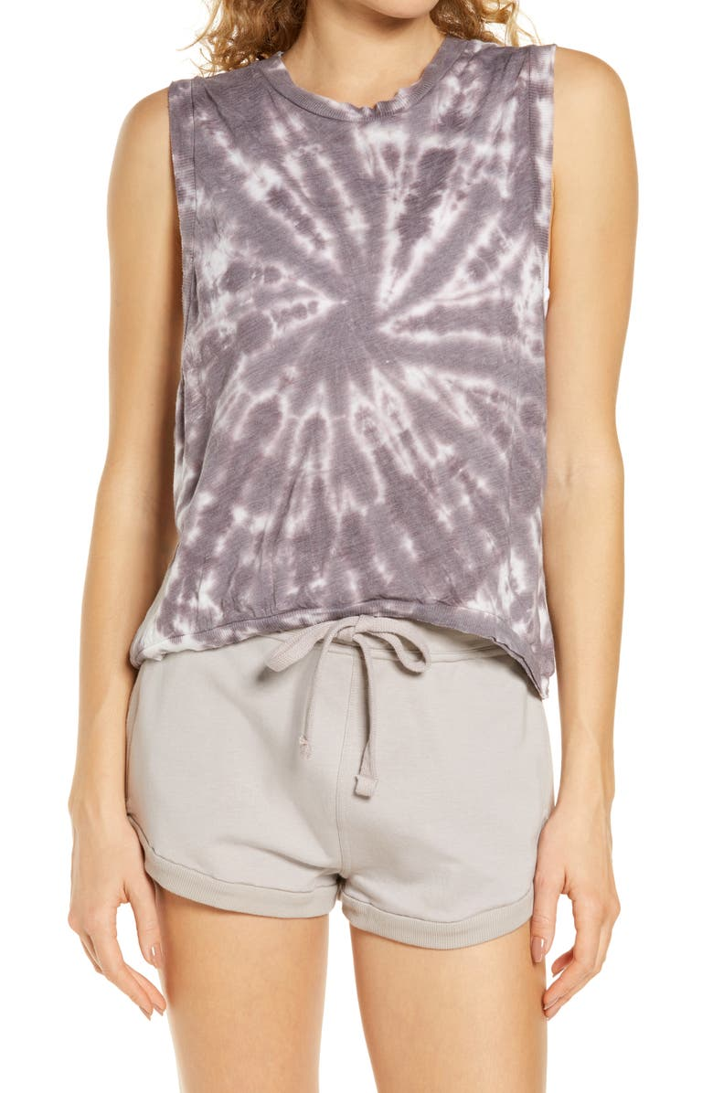 FREE PEOPLE FP MOVEMENT Love Tie Dye Tank, Main, color, VIOLET UMBER