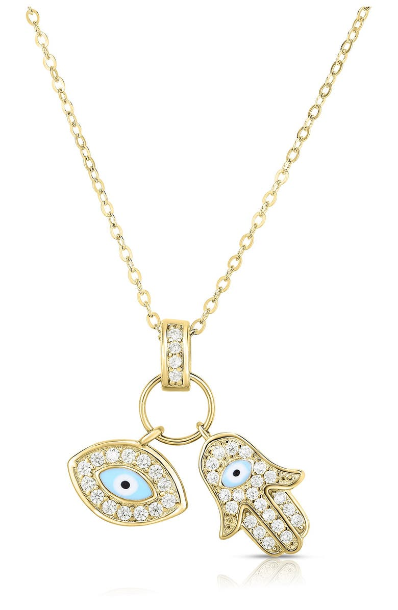 SPHERA MILANO 14K Yellow Gold Plated Sterling Silver Charm Pendant Necklace, Main, color, YELLOW GOLD AND WHITE