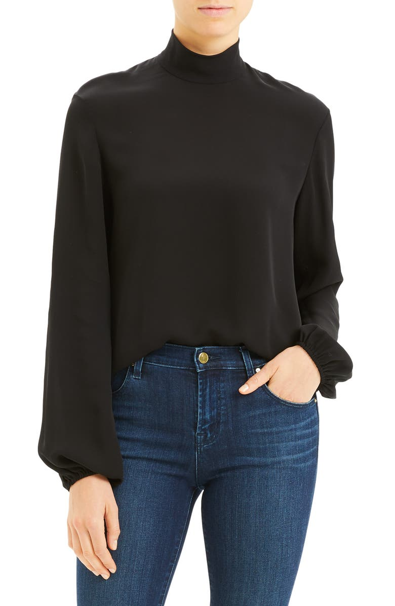 THEORY Mock Neck Silk Blouse, Main, color, 001