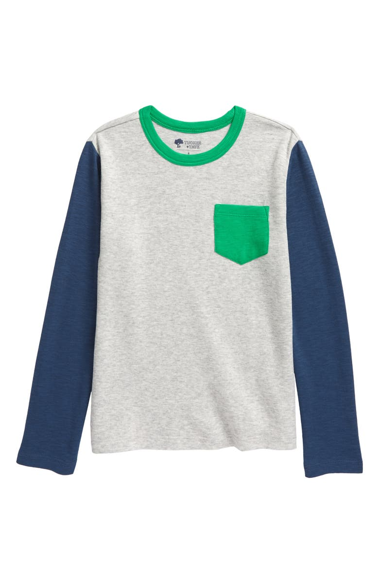 TUCKER + TATE Fording the River Color Block T-Shirt, Main, color, GREY LIGHT HEATHER
