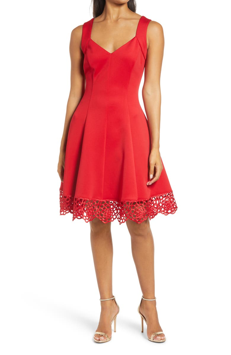 DONNA RICCO Lace Trim Sweetheart Neck Fit & Flare Dress, Main, color, RED