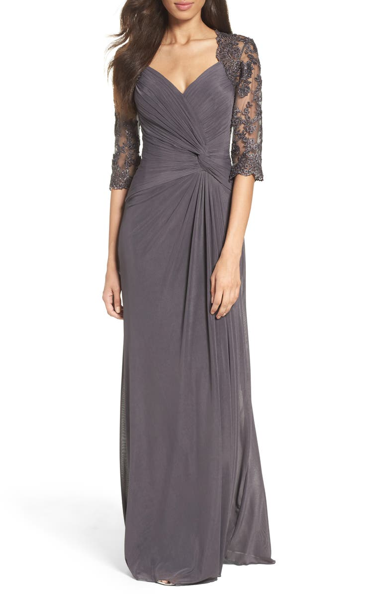 LA FEMME Ruched Twist Column Gown, Main, color, GUNMETAL