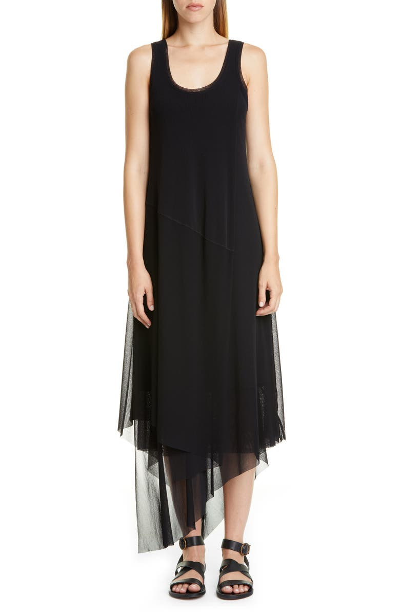 FUZZI Asymmetrical Hem Tank Dress, Main, color, 001