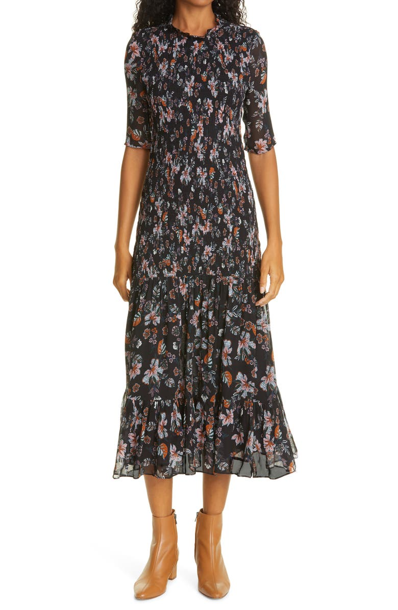 VERONICA BEARD Gabi Floral Print Dress, Main, color, BLACK MULTI