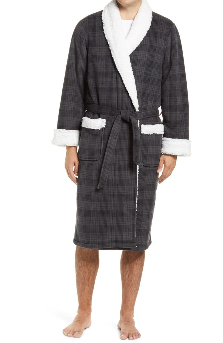 NORDSTROM Plaid Fleece Robe with Faux Shearling Lining, Main, color, 022