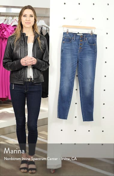10-Inch High Waist Button Front Crop Skinny Jeans, sales video thumbnail