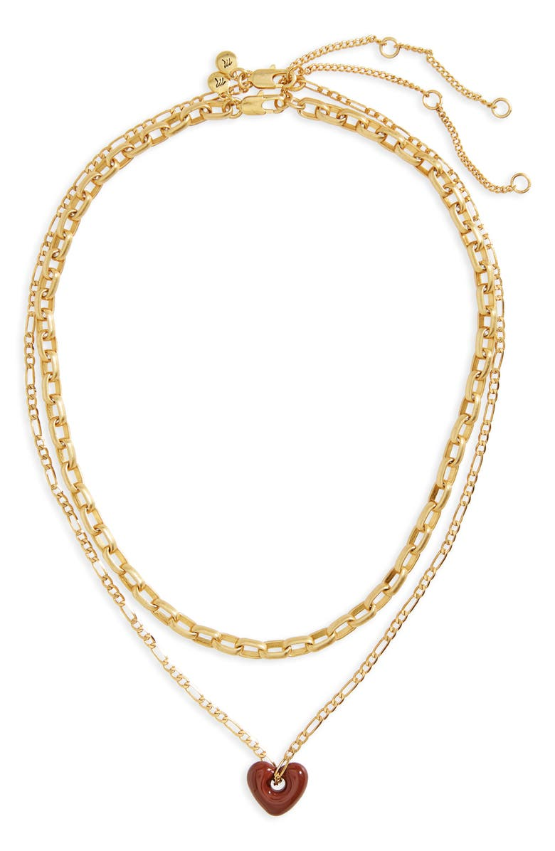 MADEWELL Enamel Heart Chain Necklace Set, Main, color, 200