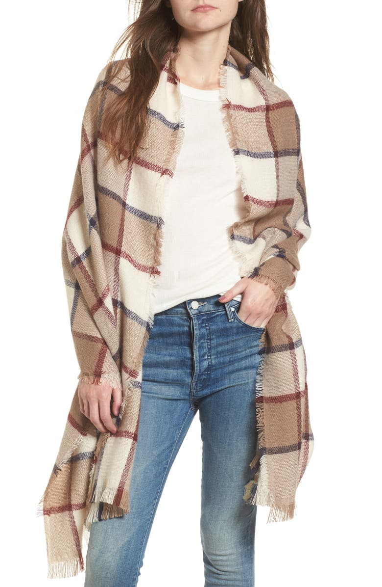 SOLE SOCIETY Windowpane Check Blanket Scarf, Main, color, IVORY COMBO