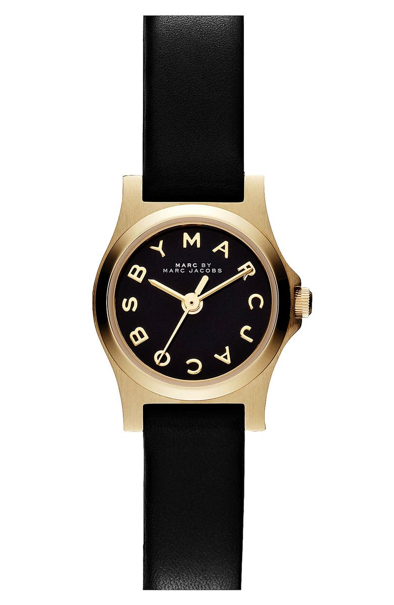 MARC JACOBS 'Henry Dinky' Leather Strap Watch, Main, color, 001