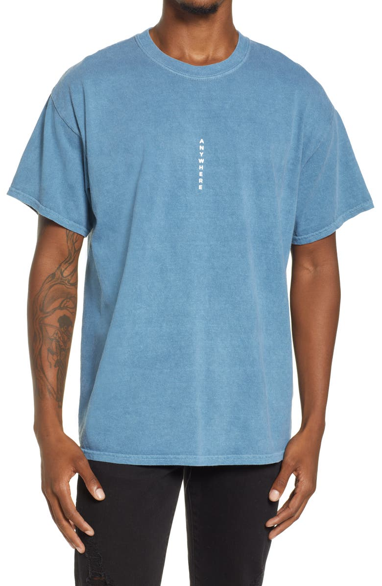 TOPMAN Oversize Vertical Anywhere Cotton Graphic Tee, Main, color, LIGHT BLUE