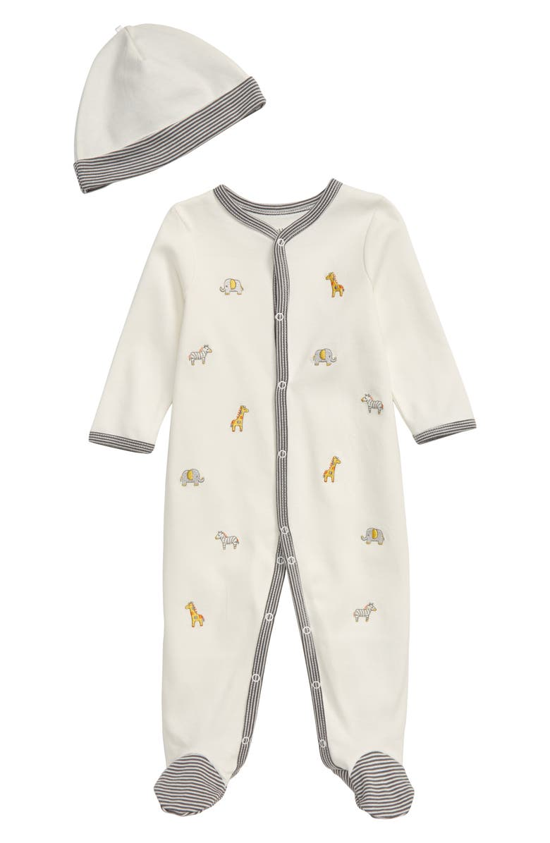 LITTLE ME Safari Footie & Hat Set, Main, color, IVORY MULTI