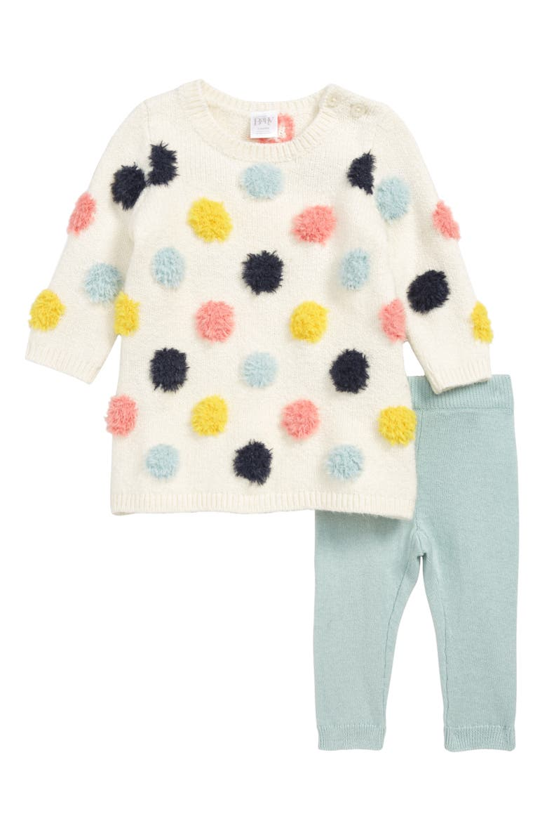 NORDSTROM Baby Dotted Sweater Dress & Leggings Set, Main, color, 900
