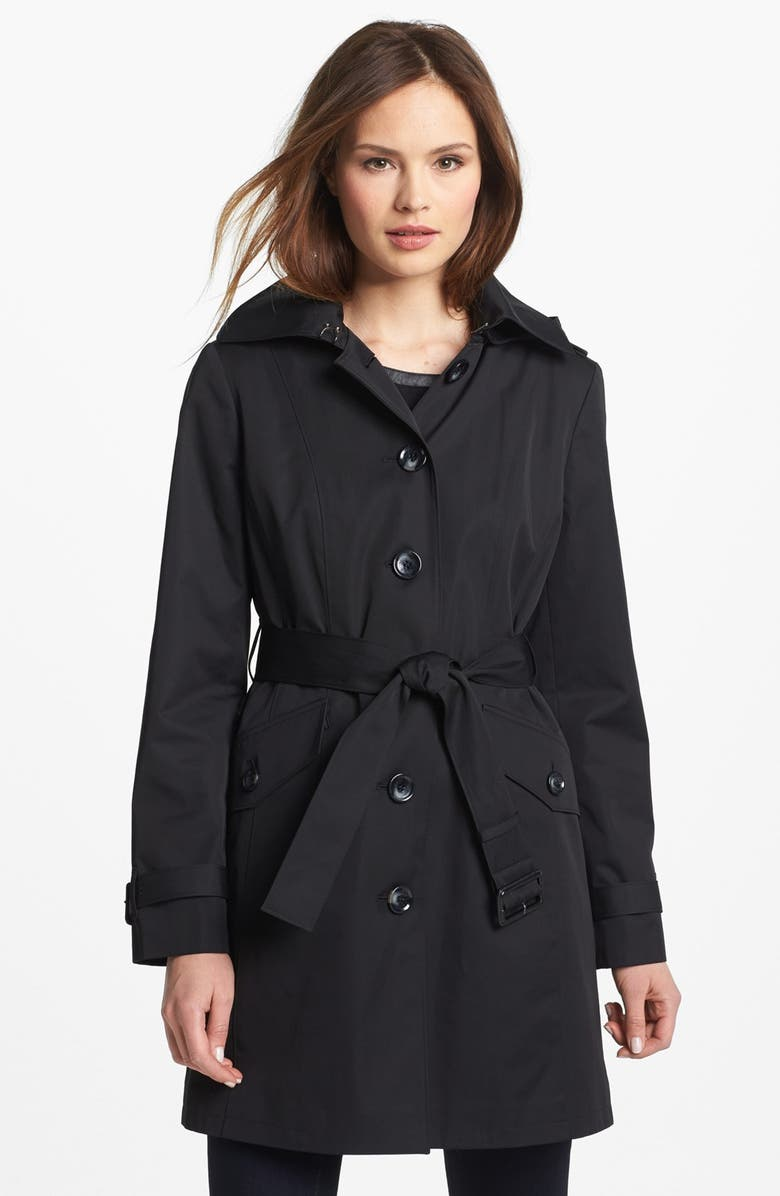 MICHAEL MICHAEL KORS Trench Coat with Detachable Hood, Main, color, 001