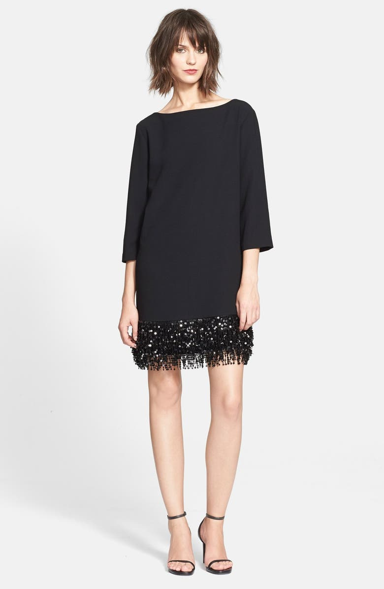 KATE SPADE NEW YORK sequin fringe minidress, Main, color, 001