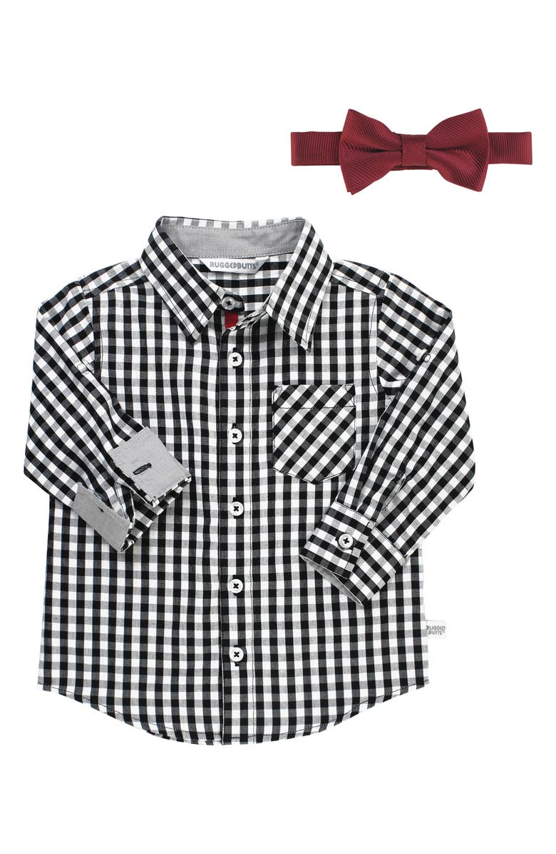 RUGGEDBUTTS Gingham Shirt & Bow Tie Set, Main, color, 001