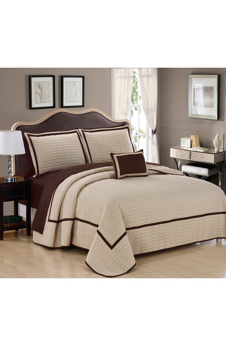 CHIC Queen Neal Hotel Collection Embroidered Bed in a Bag - Beige, Main, color, BEIGE