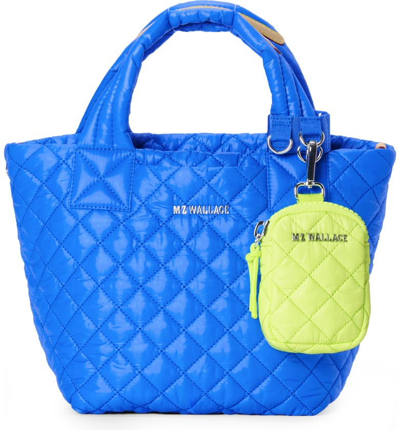 MZ WALLACE Mini Metro Quilted Nylon Tote, Zip Pouch & Cuff Bundle, Main, color, BRIGHT BLUE/ NEON YELLOW