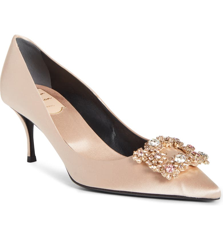 ROGER VIVIER Sin Crystal Buckle Pointed Toe Pump, Main, color, CHAMPAGNE