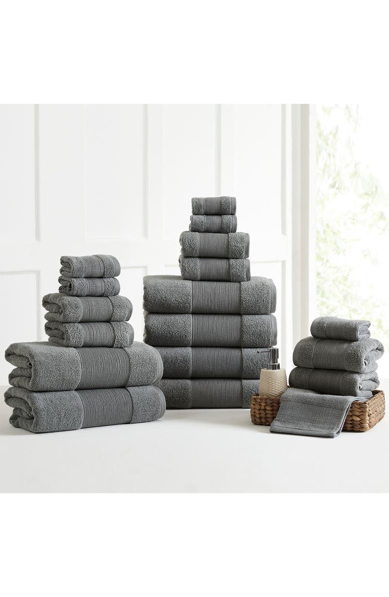 MODERN THREADS Air Cloud 18-Piece Towel Set - Charcoal Gray, Main, color, CHARCOAL GRAY