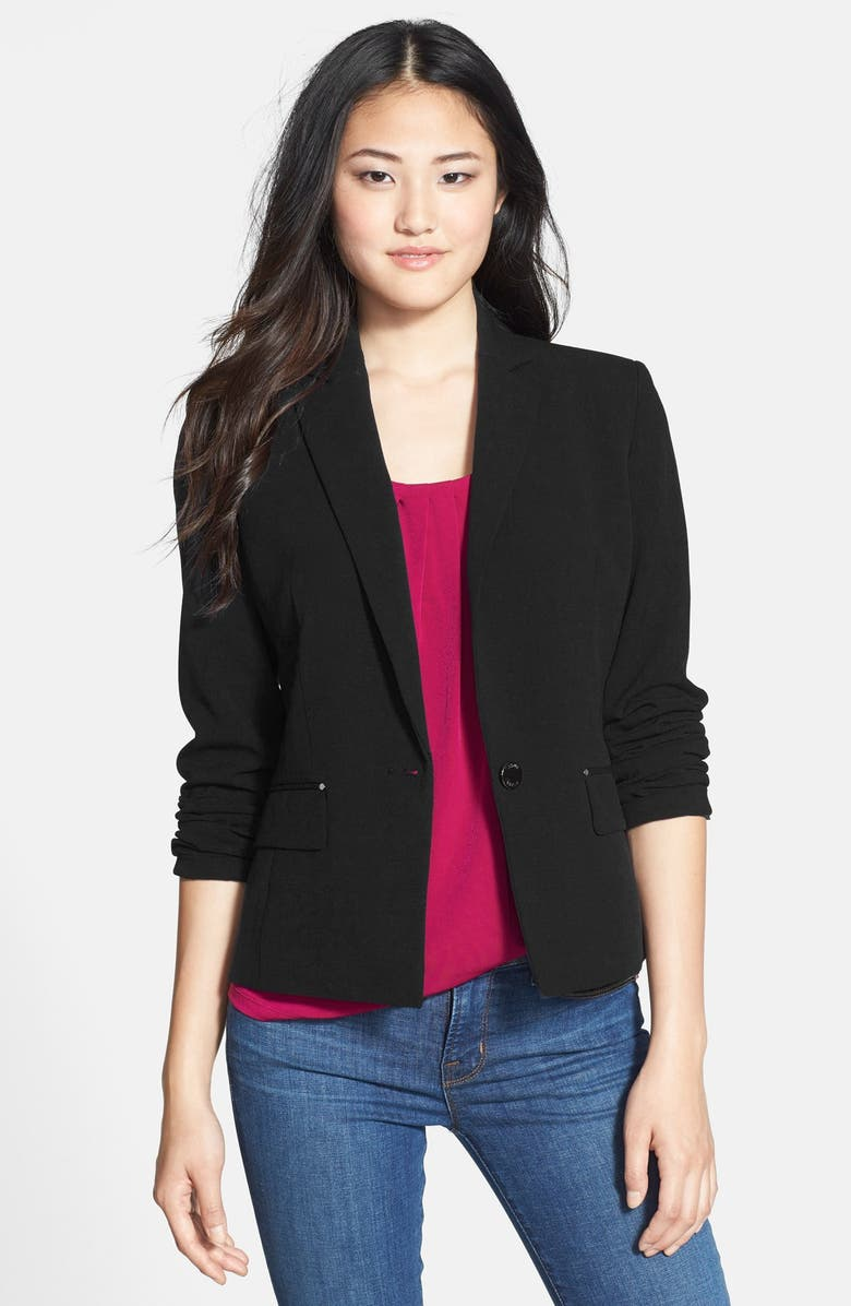ANNE KLEIN One-Button Blazer, Main, color, 001