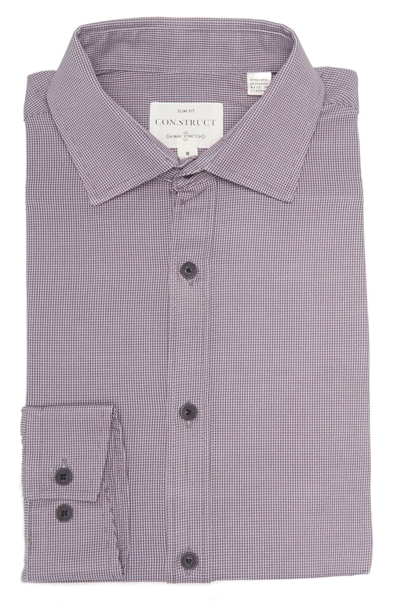 CONSTRUCT Slim Fit Charcoal End On End Geo Wrinkle-Free Stretch Dress Shirt, Main, color, CHARCOAL