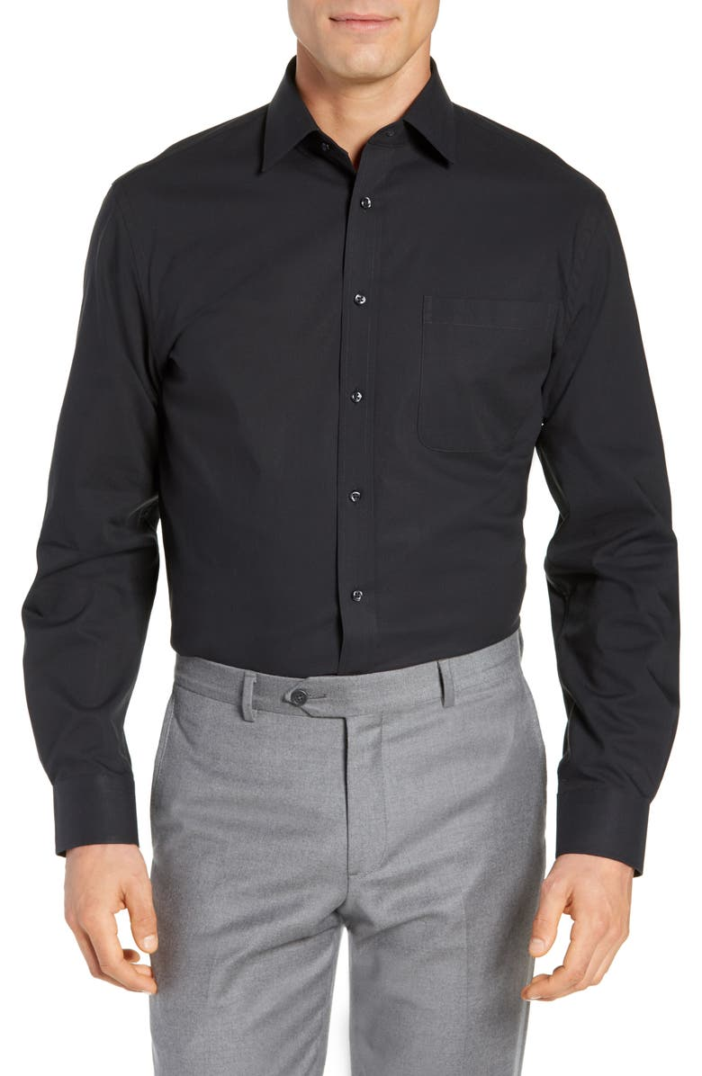 NORDSTROM Men's Shop Tech-Smart Traditional Fit Stretch Pinpoint Dress Shirt, Main, color, 001