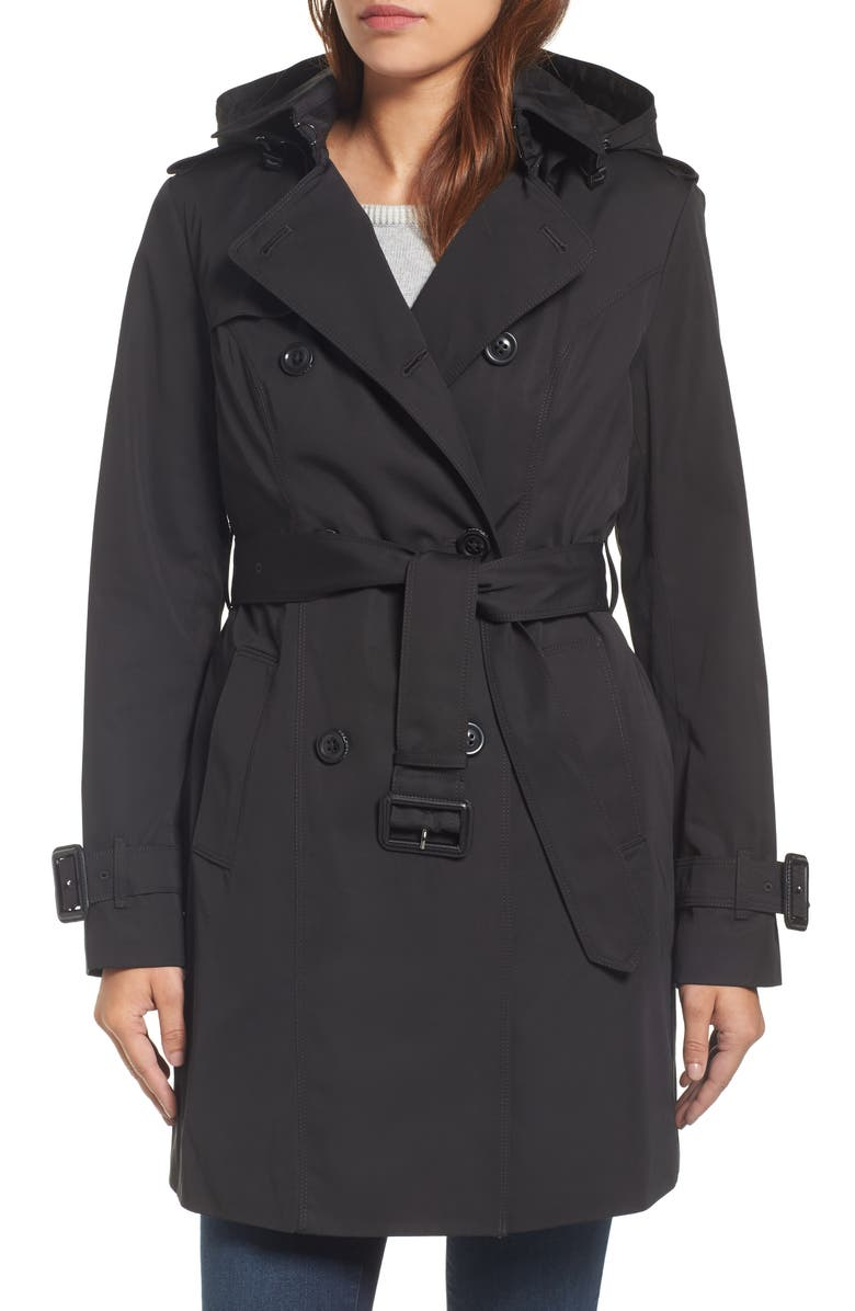 LONDON FOG Heritage Trench Coat with Detachable Liner, Main, color, Black