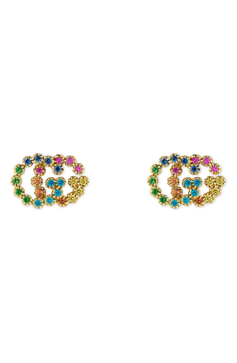 GUCCI Double-G Multistone Stud Earrings, Main, color, YELLOW GOLD
