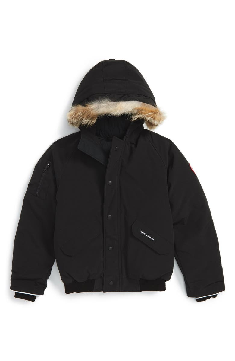 CANADA GOOSE 'Rundle' Down Bomber Jacket with Genuine Coyote Fur Trim, Main, color, Black