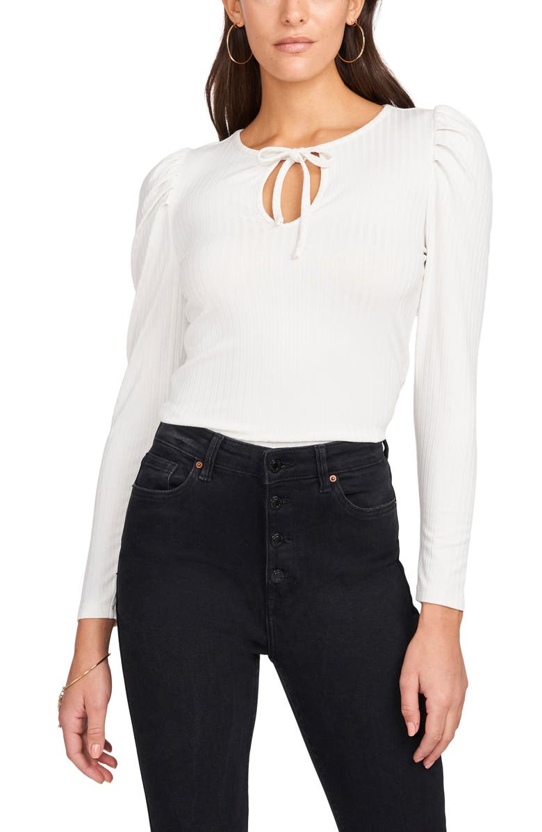 1.STATE Tie Front Puff Sleeve Top, Main, color, ULTRA WHITE